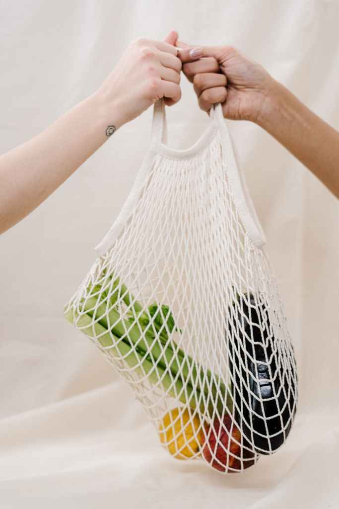 One person handing out a netted bag to another, it contains aubergine, apple, celery and what appears like a pear.